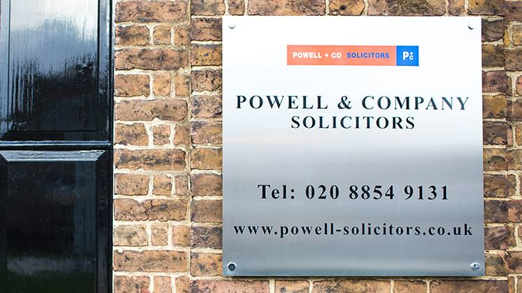 Nameplate - Powell & Co South East London Solicitors Woolwich SE18